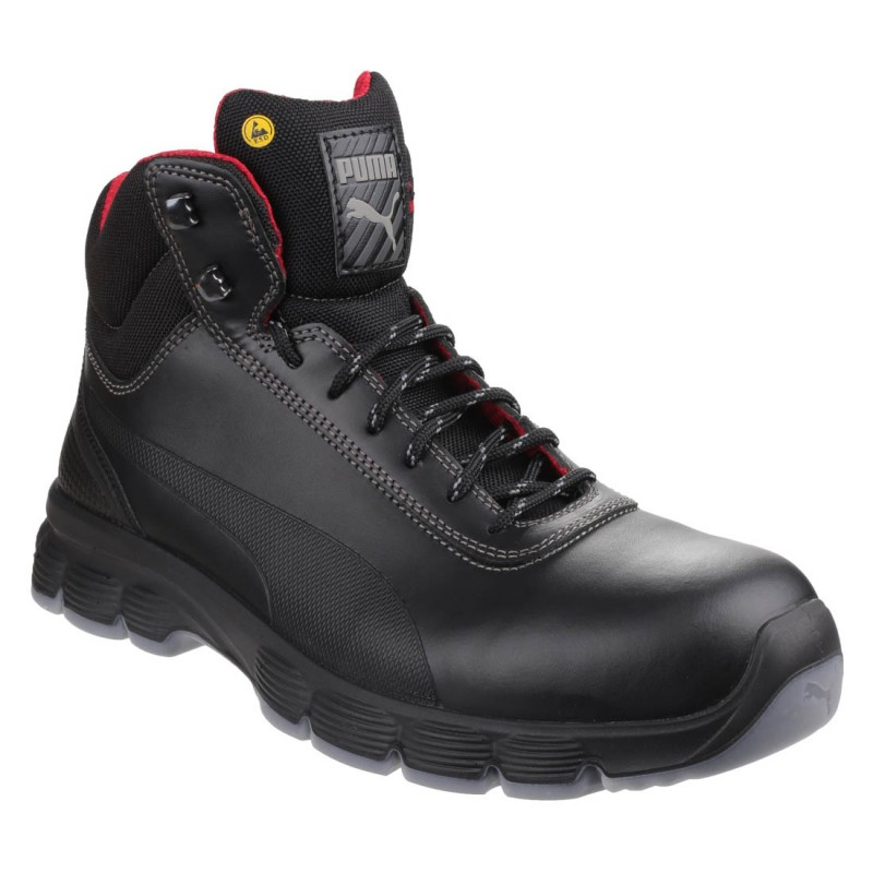 290c95fae4a Puma Safety Pioneer S3 ESD Smooth Black Leather Mens Hiker Work ...