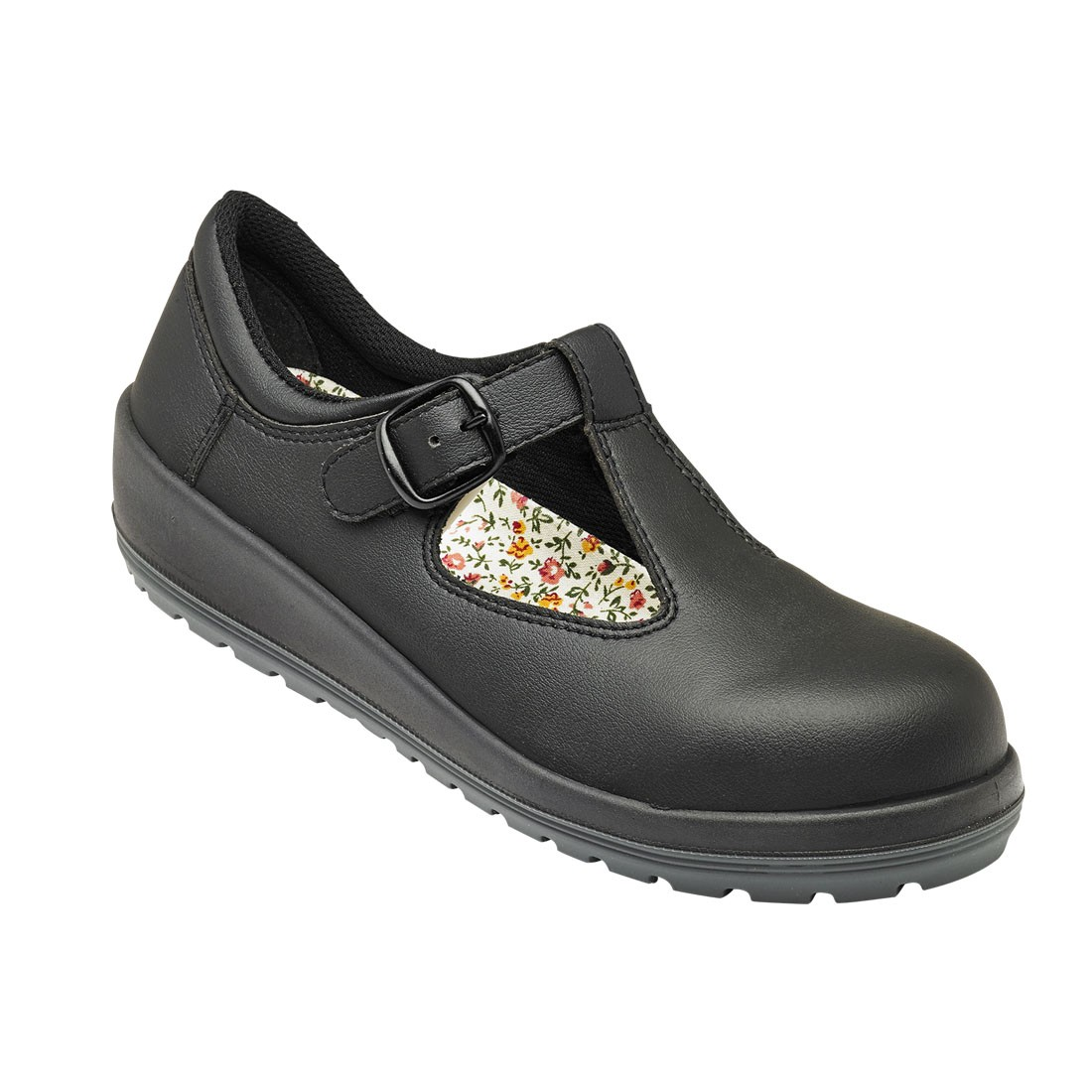 V12 Safety Boots >> Parade Batina Ladies Buckle Fastened Microfiber Black Safety Work Shoes
