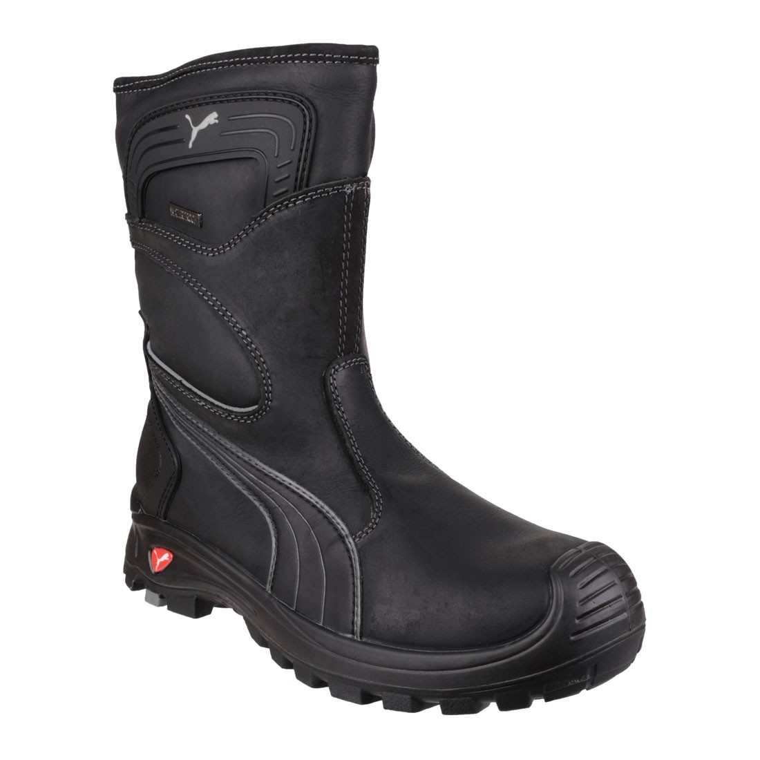 puma water resistant black leather metal free mens safety