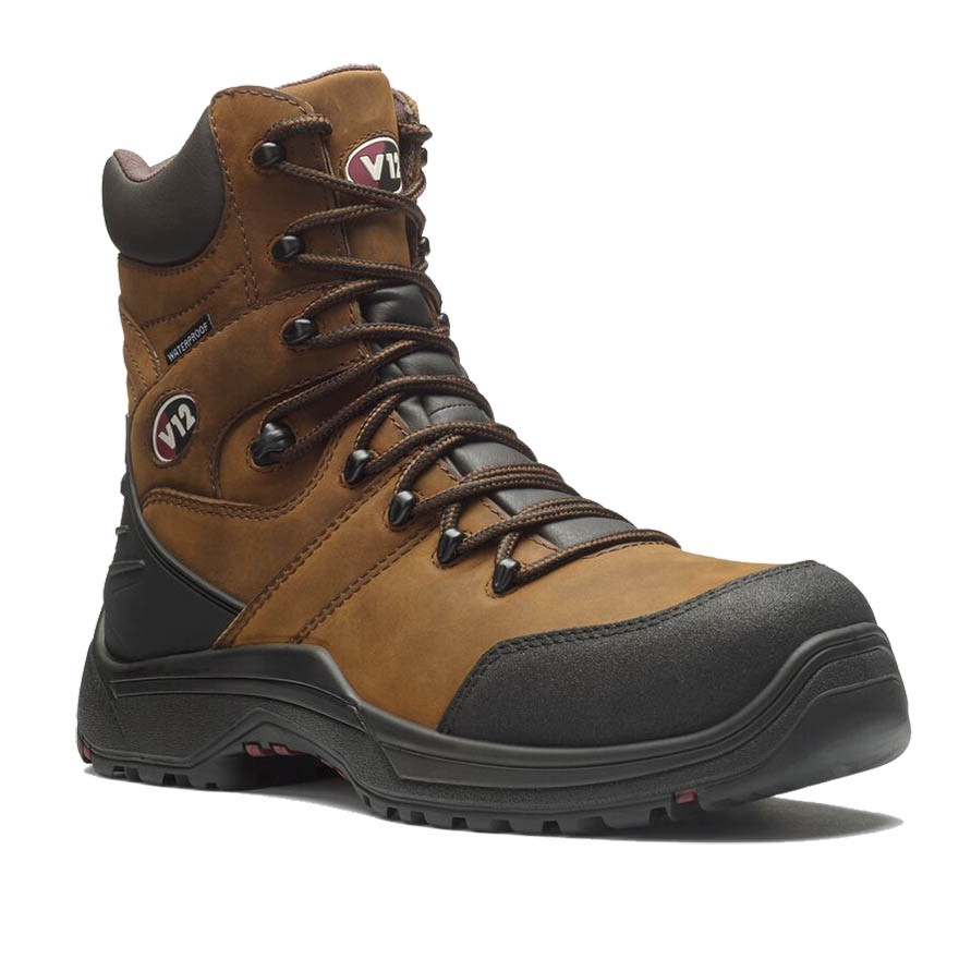V12 Rocky V1255 High Leg Premium Brown Leather Waterproof Safety Boots