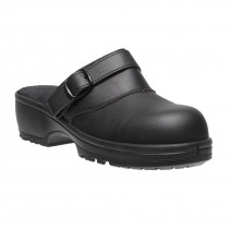 cb543c604283 Parade Candy Metal Free Slip On Black Microfiber Womens Clog Safety Shoes